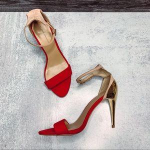 Zara Red Ankle Strap Sandal Heel w/ Gold Heels